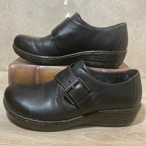 Black Leather Bootie Clog With Buckle Detail New